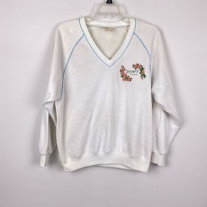 Vintage Banff Canada V neck Fleece Sweatshirt